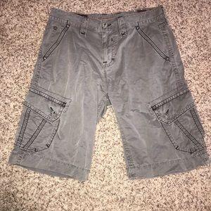 Rock Revival Slim Army Green Cargo Shorts, 33